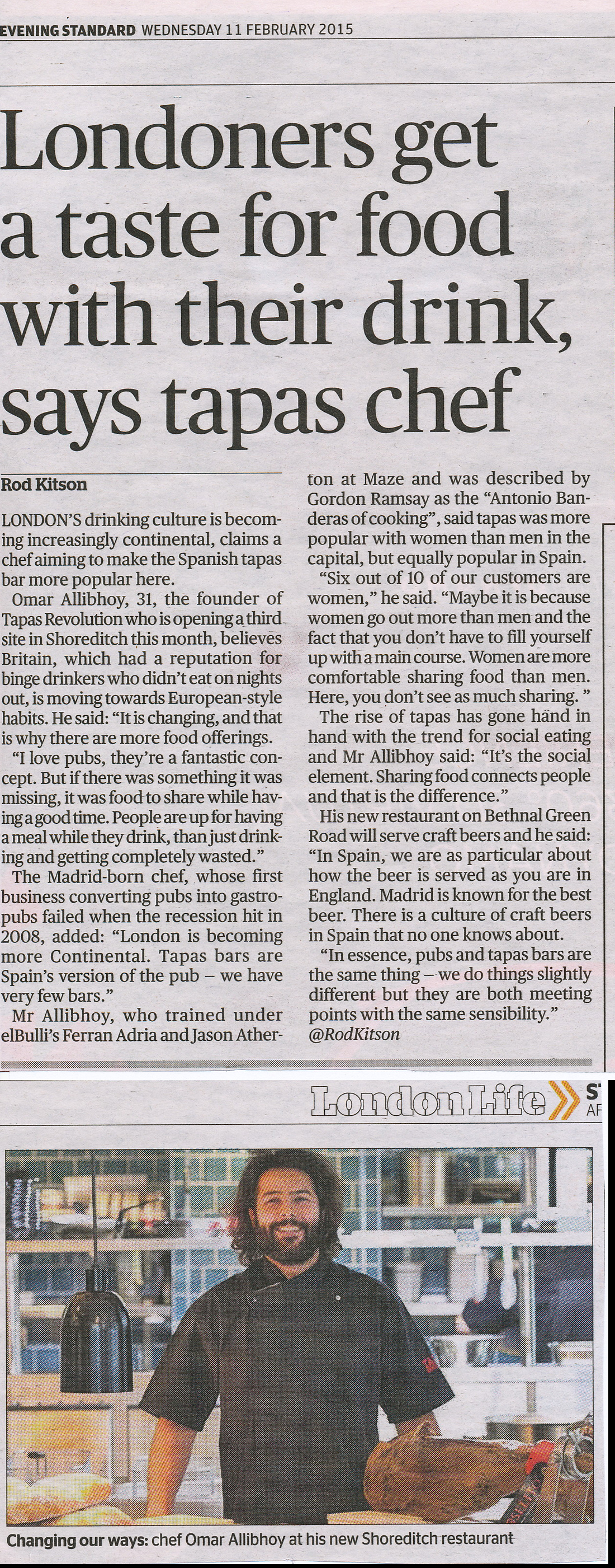 Tapas in London - Evening Standard article