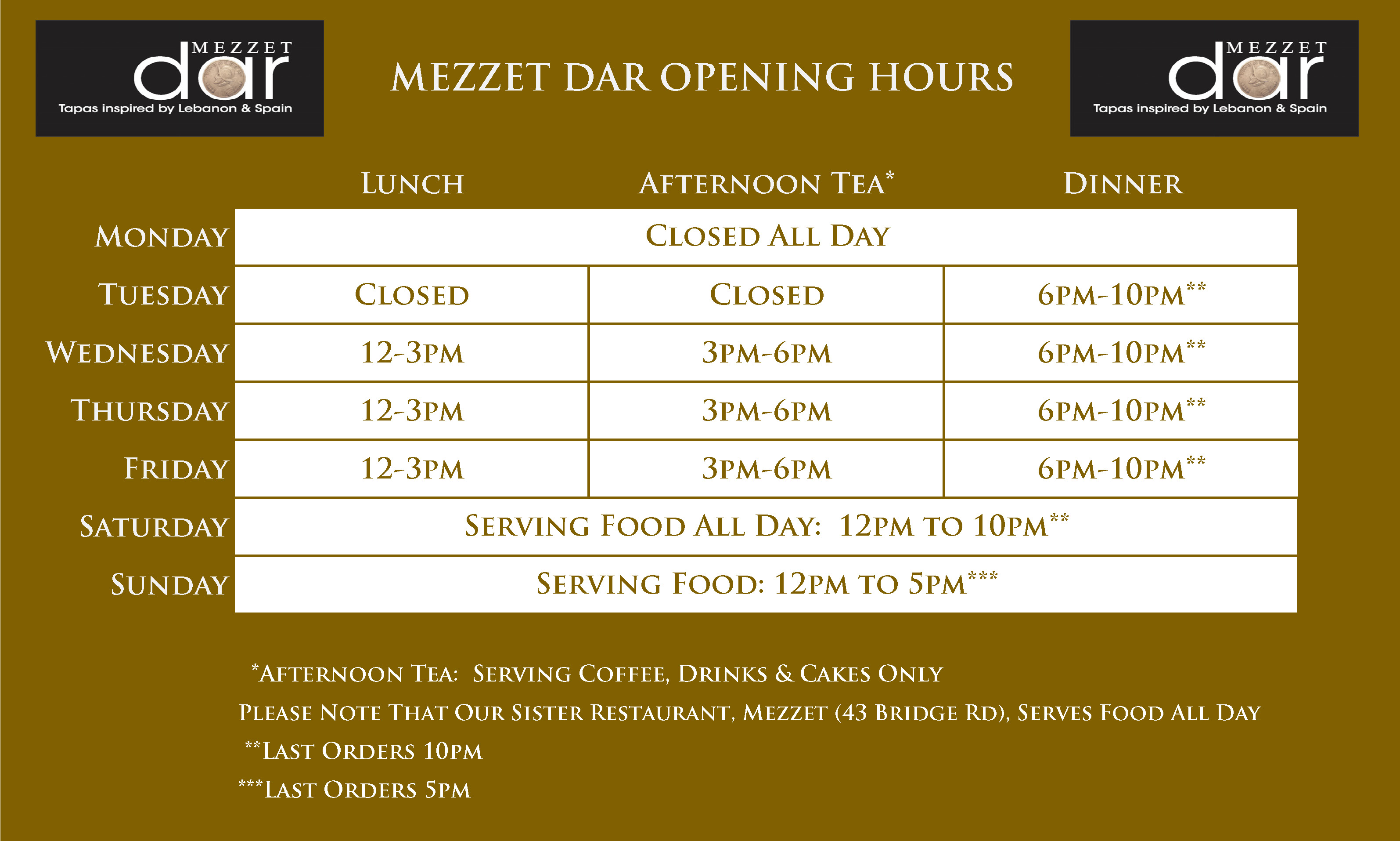 Dar Tapas Restaurant Opening Times